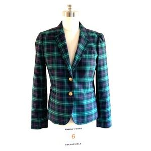 Tartan Plaid Wool blend JCrew School boy Blazer